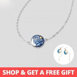 Thaya Van gogha emalia Cloisonne Plated bransoletka gwiazda księżyc noc obraz olejny s925 srebrny bransoletka biżuteria dla kobi
