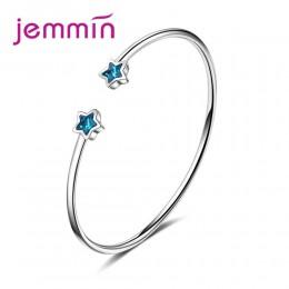 JEMMIN Big promocja wyczyść austriackie kryształy Student styl modny niebieski gwiazdy otwarcia bransoletki 925 Sterling Silver