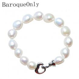 Barokowy tylko 100% naturalna perła słodkowodna bransoletka dla kobiet serce hak klasyczne proste prawdziwe perły bransoletka 10