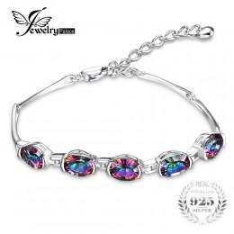 JewelryPalace luksusowe marka 925 srebrny bransoletka dla kobiet Femme dziewczyny 6ct owalne mystic Rainbow Topaz bransoletka mo