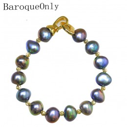 Biżuteria damska damska młodzieżowa dziewczęca bransoletka z pereł słodkowodnych z zapięciem złota niebieska biała