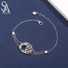 SA SILVERAGE 925 bransoletki ze srebra wysokiej próby bransoletki dla kobiet żółty złoty kolor drzewo życia 925 srebrny łańcuch
