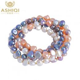 ASHIQI prawdziwe naturalne słodkowodne barokowe bransoletki z pereł i Bangles dla kobiet wielu kolor kryształ biżuteria z korali