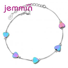 Jemmin moda dziewczyny opublikowano kolekcji mody Party olśniewający Noble kolorowe serce 925 srebro bransoletka dla najlepszy p