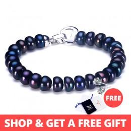 HENGSHENG 2019 nowy czarny naturalne perły bransoletka dla kobiet, 9-9.5mm duży chleb okrągły słodkowodne perły z słodkie miłość