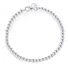 LEKANI 925 stałe prawdziwe srebro mody 4mm okrągłe koraliki bransoletka 20 cm dla nastolatek dziewczyny Lady prezent kobiety fin