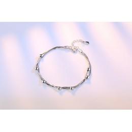 OMHXZJ hurtownie moda słodkie piękne kobieta para dziewczyna Party prezent koraliki kostki Pentagram 925 srebro bransoletka bran