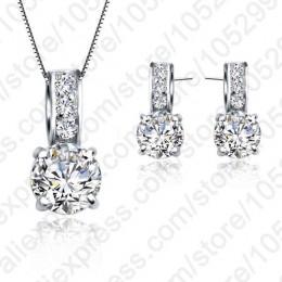 Jemmin marka europejska 925 Sterling Silver Rainestone wisiorek naszyjnik/kolczyki kobiety zestawy biżuterii hurtowych