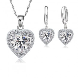 Jemmin grzywny 925 Sterling Silver biżuteria ustaw dla kobiet ślubna dla nowożeńców serce austriackie kryształowe naszyjniki zes