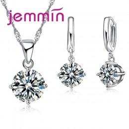 Jemmin 8 kolor AAA kryształ 925 Sterling srebrne wisiorki kolczyki naszyjnik zestaw kobiety dziewczyny Party cztery pazur biżute