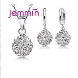 JEMMIN nowa moda Big promocja 925 Sterling srebrny kryształ biżuteria naszyjnik wisiorek kolczyk sześciennych tlenku cyrkonu dla