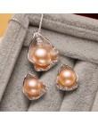 FENASY S925 Sterling Silver CZ zestawy biżuterii z pereł słodkowodnych naszyjnik kolczyki Shell projekt dla kobiet rocznica prez