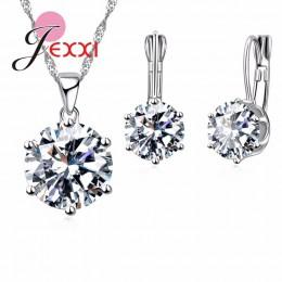 JEMMIN luksusowy romantyczny naszyjnik kolczyki komplety biżuterii w kształcie kropli wisiorek 925 Sterling Silver CZ kobiety Da