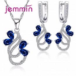 Jemmin luksusowe 925 Sterling srebrny naszyjnik zestaw kolczyków dla kobiet kobieta Party niebieski austriacki kryształ biżuteri