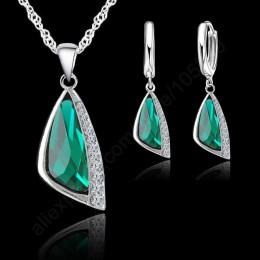 Jemmin nowy 925 Sterling Silver austriacki kryształ naszyjnik zestaw kolczyków typu koła srebrny kryształ zestaw biżuterii preze