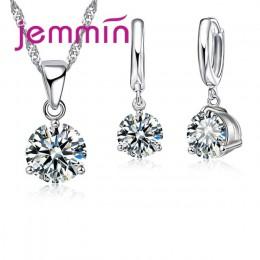 Jemmin szybka wysyłka 925 Sterling Silver wesela/zaręczyny naszyjnik wisiorek zestawy kolczyków dla kobiet moda biżuteria