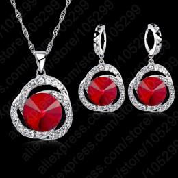 Jemmin urok kobiety czerwony kryształ wisiorki naszyjnik zestaw kolczyków prezent ślubna dla nowożeńców 925 Sterling Silver zest