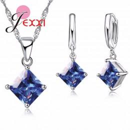Jemmin elegancki niebieski kryształ biżuteria ślubna ustawia dzieła 925 srebro wisiorek naszyjnik i zestaw kolczyków dla kobiet