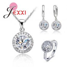 JEMMIN oryginalna 925 Sterling Silver biżuteria słońce kwiat wisiorek naszyjnik kolczyki + pierścionki lśniące sześciennych tlen