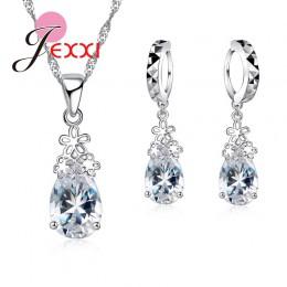 Moda 925 srebro kropla wody jasny kryształ naszyjnik zestaw kolczyków kobiet kobiet ślub zaręczyny biżuteria zestaw prezent