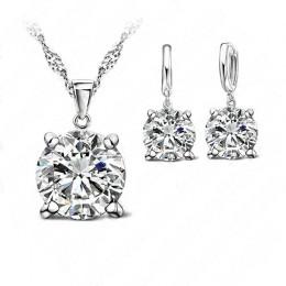 Moda kryształowe kolczyki austriackie naszyjnik zestawy biżuterii klasyczna suknia ślubna 925 niezawodnego srebra mody wisiorek