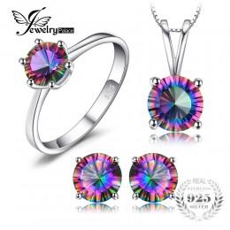100% naturalne Rainbow ogień Mystic Topaz wisiorki pierścionki kolczyki 925 Sterling Silver Jewelry Sets dla kobiet prezenty ślu
