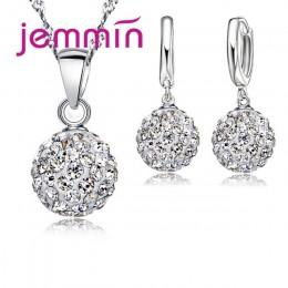 JEMMIN słodkie delikatne 925 Sterling Silver zestawy biżuterii wisiorek kolczyki naszyjnik dla kobiet ślub pokazuje tę listę, Pa