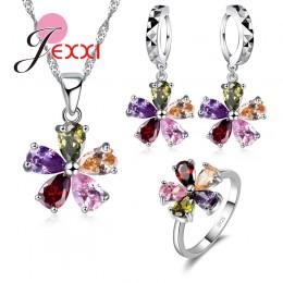 Jemmin moda kobieta prezent na Boże Narodzenie wysokiej jakości 925 Sterling Silver zestawy biżuterii Multicolor kryształowy nas
