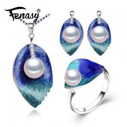 FENASY perła biżuteria ustawia 925 kolczyki sztyfty ze srebra wysokiej próby naturalny naszyjnik z pereł dla kobiet miłość Clois