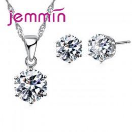 Jemmin New Arrival cena fabryczna 8 kolor kryształ 925 kolczyki sztyfty ze srebra wysokiej próby naszyjnik zestaw kobiety Party