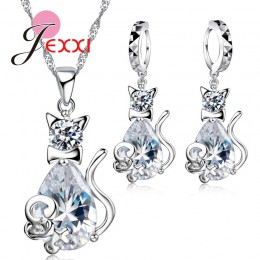 Jemmin śliczne biały kot i mysz biżuteria ustawia 925 srebro CZ AAA cyrkonia kryształ prezent na dzień matki zestawy biżuterii