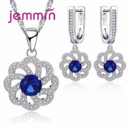 Jemmin w stylu Vintage niebieski naszyjnik wisior z kryształem austriackim zestaw kolczyków dla kobiet akcesoria grzywny 925 Ste