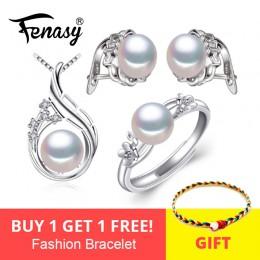 FENASY 925 srebro kolczyki z kamieniami, biżuteria – naturalne perły zestawy dla kobiet, artystyczny zestaw klipsy pierścienie