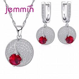 Jemmin prosty styl okrągły 925 Sterling Silver naszyjniki kolczyki zestaw biżuterii z dobrze czerwony kryształ dla kobiet Lady P