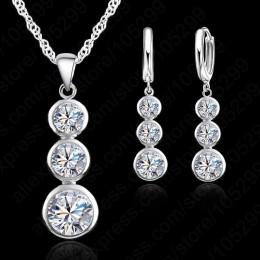 Jemmin kobiet w porządku biżuteria 925 Sterling Silver zestawy kryształowej biżuterii na ślub wisiorki naszyjniki zestaw kolczyk