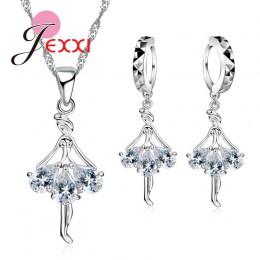 Elegancki 925 Sterling Silver naszyjnik baleriny zestaw kolczyków z błyszczące kryształowe kobiety dziewczyny ślub zaręczyny biż
