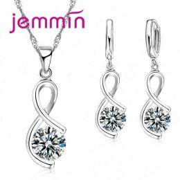 Jemmin urocze elegancki nieregularny kształt wisiorek naszyjnik kolczyki prawdziwe 925 Sterling Silver biżuteria dla kobiet prez