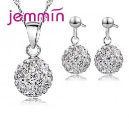 JEMMIN luksusowy romantyczny naszyjnik kolczyki komplety biżuterii okrągły kształt wisiorek 925 Sterling Silver CZ kobiety Weddi