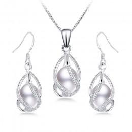 100% naturalna perła słodkowodna biżuteria zestawy dla kobiet moda 925 Sterling Silver kolczyki + wisiorek biżuteria ślubna z pu