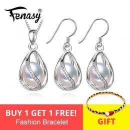 FENASY kwiat perła zestaw biżuterii, wisior z naturalną perłą naszyjnik i kolczyki, naturalne kolczyki dla kobiet, biżuteria ślu