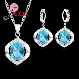 Jemmin Hot sprzedaży klasyczne 100% 925 Sterling Silver najwyższej klasy AAA + + CZ ślub zaręczyny naszyjnik + kolczyki niebiesk