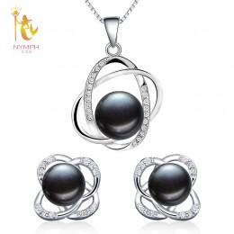 Nimfa perła biżuteria zestawy naturalna perła słodkowodna naszyjnik wisiorek kolczyki Fine Trendy Wedding Party prezent kobiety