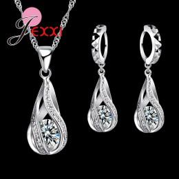 Jemmin gorący bubel 925 Sterling Silver zestawy kryształowej biżuterii moda Hollow kropla wody biały naszyjnik wisiorek Hoop zes