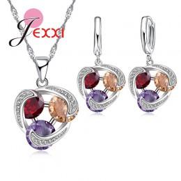JEMMIN błyszczące 925 Sterling Silver biżuteria ustawia 3 kolor CZ spadek kolczyki naszyjnik wisiorek – biżuteria dla kobiet pow