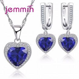 Jemmin gorąca sprzedaż w kształcie serca w kształcie serca niebieski kryształ 925 Sterling Silver naszyjnik i zestaw kolczyków d
