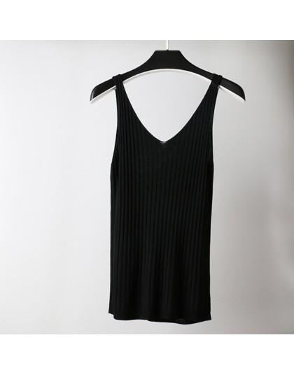 GOPLUS wiosna bez rękawów, dekolt w serek, seksowna koszulka z dzianiny bez rękawów Top kobiety moda bawełna elastyczna Camis ko