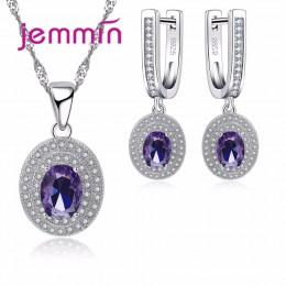Jemmin luksusowe kobiety zestaw biżuterii ślubnej na ślub zaręczyny akcesoria fioletowy austriackie kryształowy komunikat naszyj