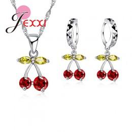 Jemmin Party prezent kolorowe kryształ kobiety biżuteria ustaw 925 Sterling srebrny naszyjnik kolczyki wiśni projekt dynda zawie