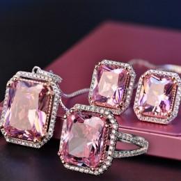 Nasiya 925 Sterling Sliver kwarcowy zestaw biżuterii ślubnej panny młodej hurtownie kobieta pierścionki kolczyki naszyjnik zesta