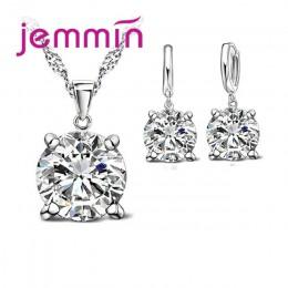 Jemmin 2019 moda 8 kolor kryształ naszyjnik prezent 925 Sterling srebrne wisiorki zestaw kolczyków kobiety dziewczyny Party biżu